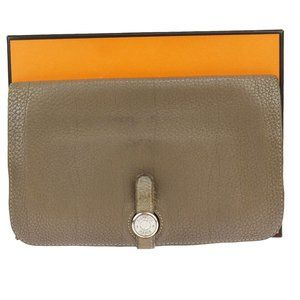 Authentic HERMES Logos Dogon GM Bifold Long Wallet Purse Togo Leather Brown